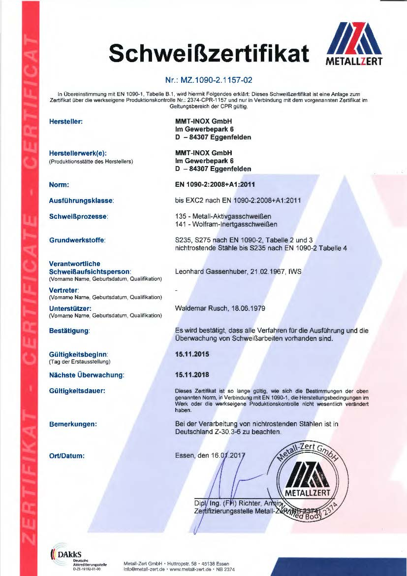 CE-Zertifikate Schweißzertifikat